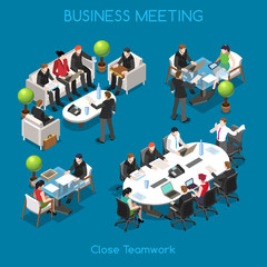 Business People Isometric Office Vector