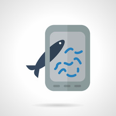 Taking fish photo flat vector icon