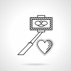 Taking selfie line vector icon