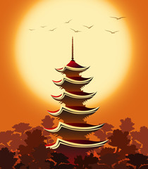 Pagoda at Sunset