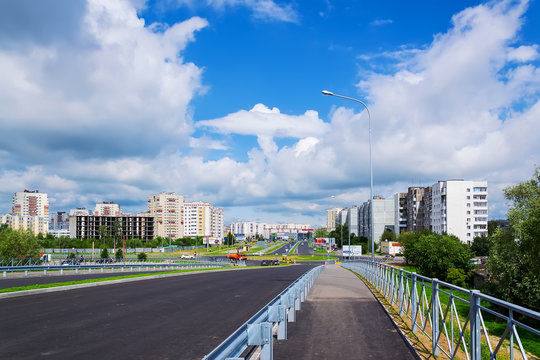 Beautiful cityscape with a new bridge in Selma neighborhood in Kaliningrad