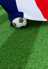 Soccer ball and national flag of France,  green grass