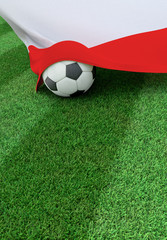 Soccer ball and national flag of Poland,  green grass