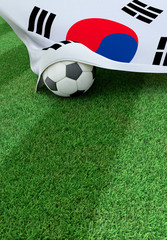Soccer ball and national flag of South Korea,  green grass