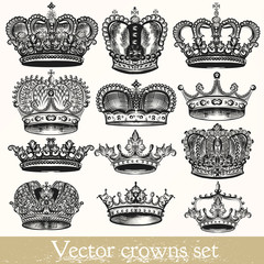 Set of vector hand drawn crowns in vintage style