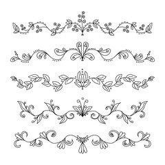 Set of hand drawn vector swirly divider