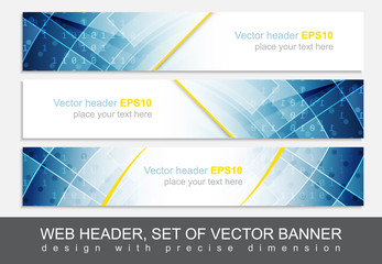 Set of vector header or banner. Design with precise dimension.
