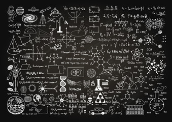 Hand drawn science formulas on chalkboard for background