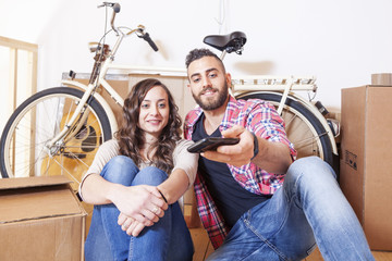 beautiful young couple take a selfie after moving