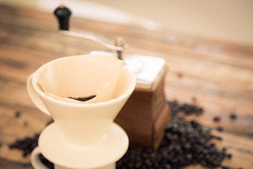 Preparation drip coffee ( Filtered image processed vintage effec