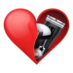 Metal engine inside a red heart