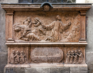 Carving wooden panel, Munich Cathedral, Bavaria, Germany