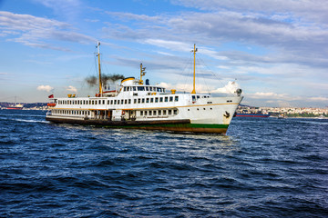 Passenger vessel in Bosporus, Turkey