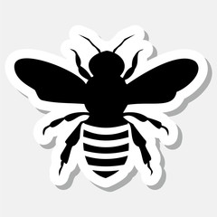 Black Bee Sticker isolated on gray background