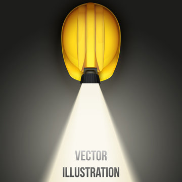 Background of Classic vintage miners helmet with lamp. Top view