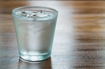 Water in a glass with ice.