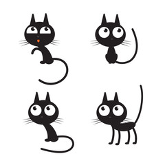 Vector set with cute cartoon black cats.