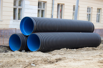 Three industrial pipes