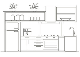 Architectural linear sketch interior small kitchen front view