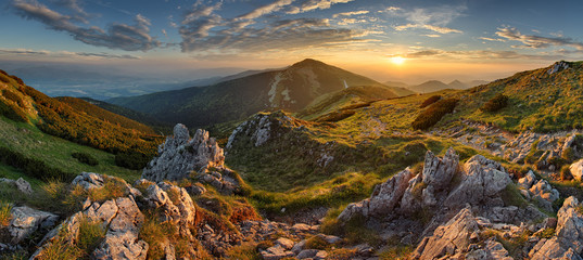 Canvas Prints Hill Panorama rocky mountain at sunset in Slovakia