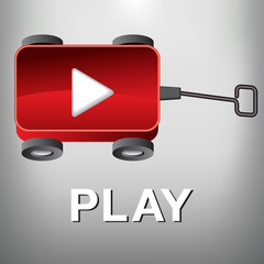 A Play Movie Button that is also a Little Red Wagon for Print or Web