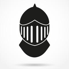 Silhouette symbol of Knight's Helmet. Vector Illustration.