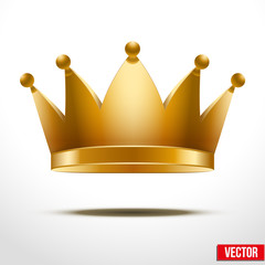 Gold classic royal Crown Vector Illustration