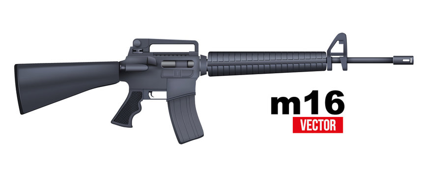 Realistic vector M16 rifle isolated on a white background