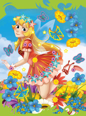 Cartoon fairy princess - illustration for the children
