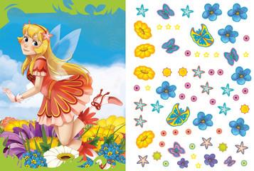 Cartoon fairy princess - sticker page - illustration