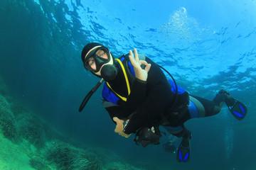 Scuba diver diving underwater