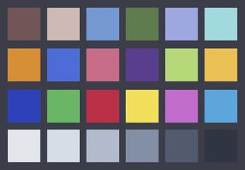 Charte graphique couleurs sur fond gris