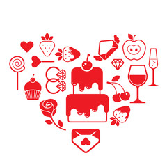 Valentine's day themed design element with symbols of romance.