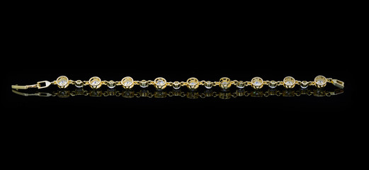 Jewelry accessories - bracelet with sapphire on a black backgrou