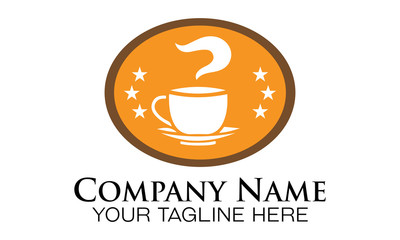 hot coffee badge logo vector