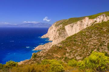Beautiful cliffs near Navagio Beach on Zakynthos Island, Greece