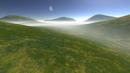 hilly terrain enveloped in fog at day time