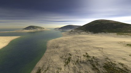 three hills strewn with sand and surrounded by water and clouds