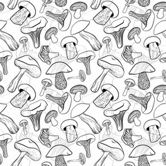 Seamless pattern with different hand drawn mushrooms in black