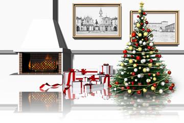 Albero Natale a casa 002 Regali di Natale sotto l'albero in salotto con camino. Rappresentazione del Natale in famiglia.