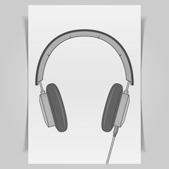Graphic Headphones Design on white paper Sheet