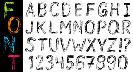 Hand drawn font: alphabet and numbers