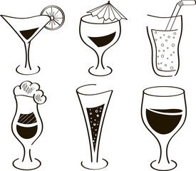 Glass, wineglass. Coctails, champagne, wine, martini, lemonade, juice