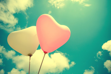Wall Mural - vintage heart balloon on blue sky concept of love in summer and valentine, wedding honeymoon