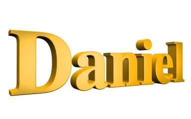 3D Daniel text on white background Wall mural