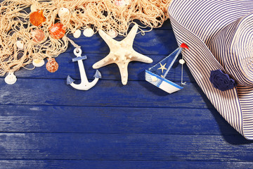 Summer accessories on wooden background