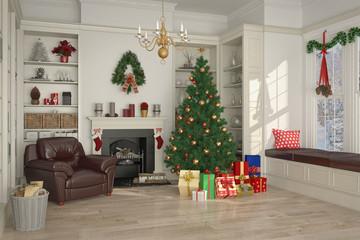 weihnachtlich dekoriertes Wohnzimmer - Tag