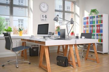 zwei Schreibtische im Home Office - Arbeitszimmer