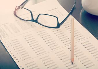 Filled standardized test form