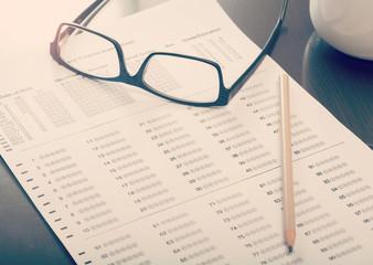 Empty standardized test form